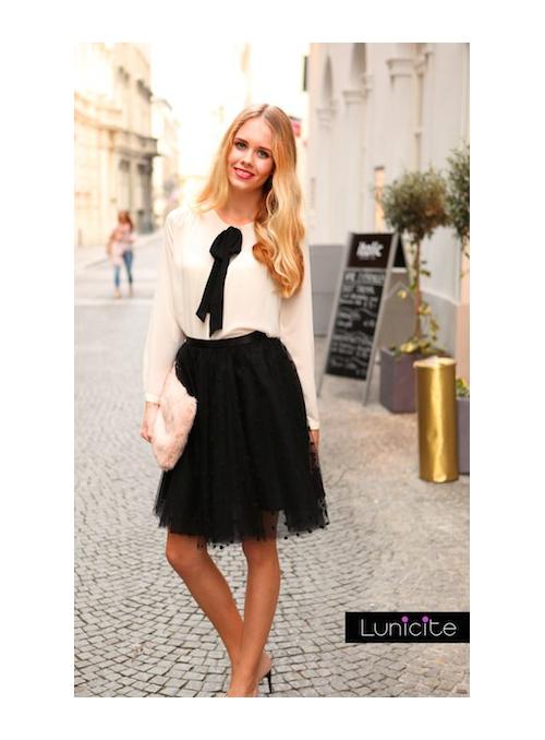 Lunicite ČERNÝ HRÁŠEK – exkluzivní tylová sukně s tečkami, černá
