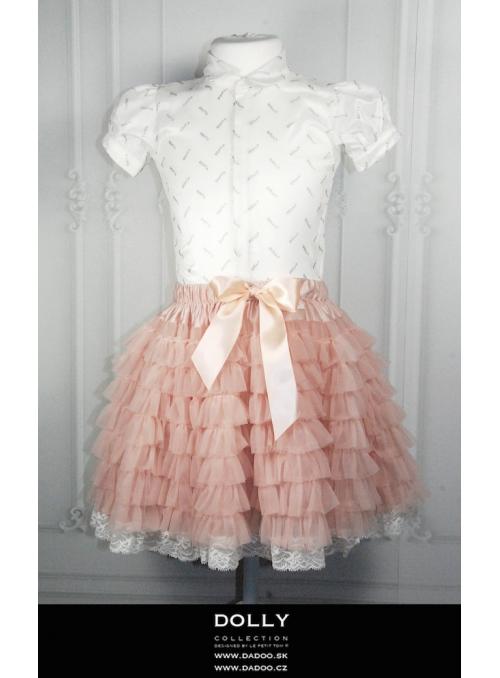DOLLY zcela nařasená tutu sukně s krajkou - baletní růžová