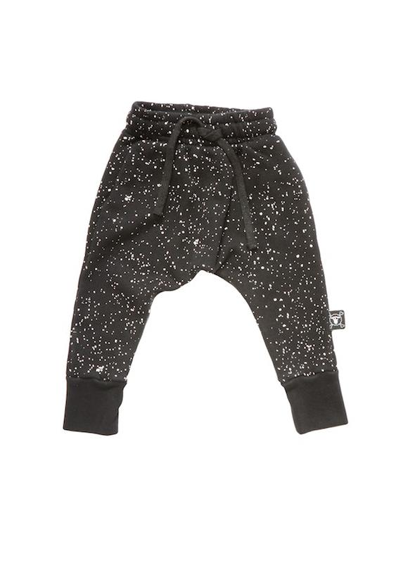 Dětské pudlové kalhoty flekaté, černé