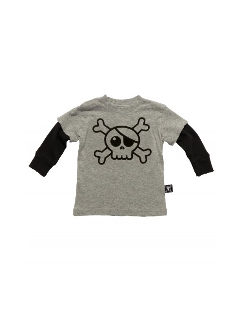 Children's shirt with long sleeves and a skull! gray
