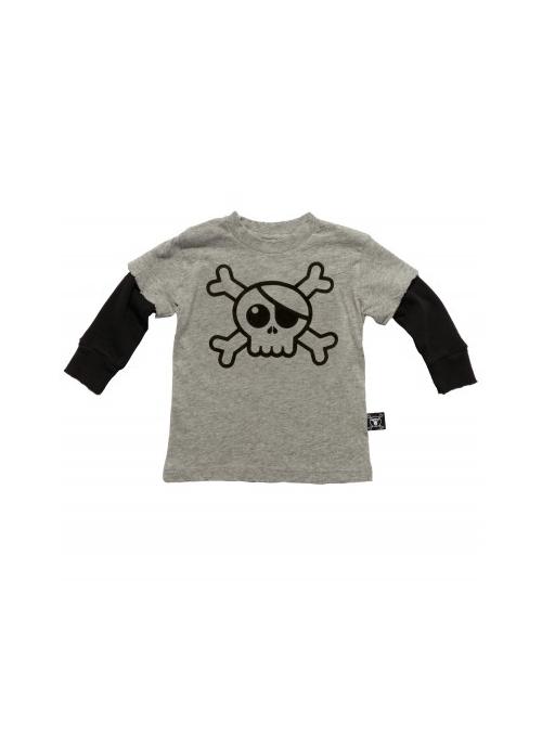 Dětské tričko s dlouhým rukávem a lebkou ! Šedé