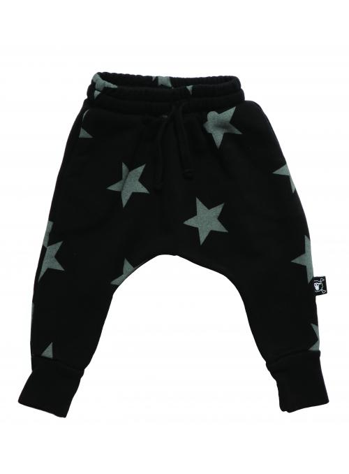 Dětské pudlové kalhoty - hvězdičky, černé