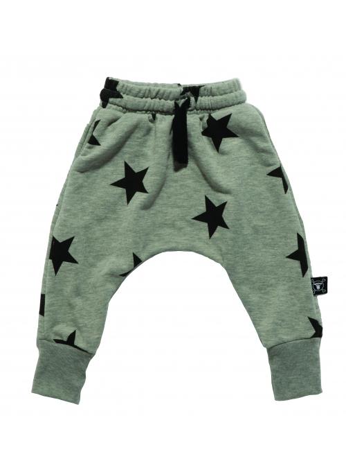 Dětské pudlové kalhoty - hvězdičky, šedé