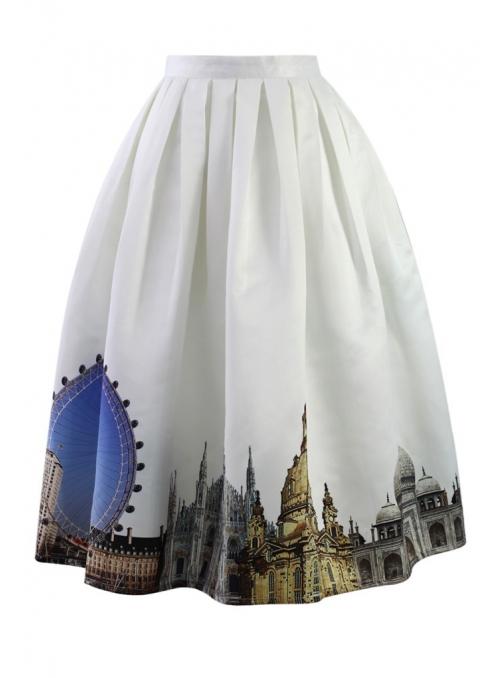 """Midi sukně """"Městská scenérie"""""""