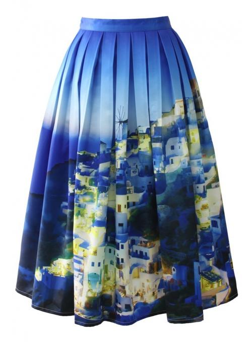 """Midi sukně """"Letní Santorini"""""""