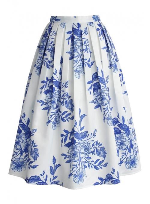 """Midi sukně """"Modré inkoustové květy"""""""