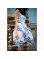"Midi Skirt ""Blue ink flowers"""