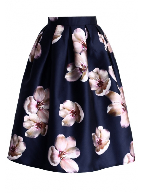 Midi skirt with peach blossom