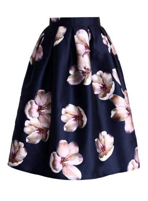 Midi sukně s broskvovým květem