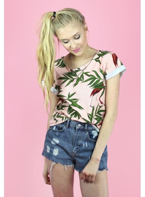 Tričko – tropická džungľa s plameniakmi
