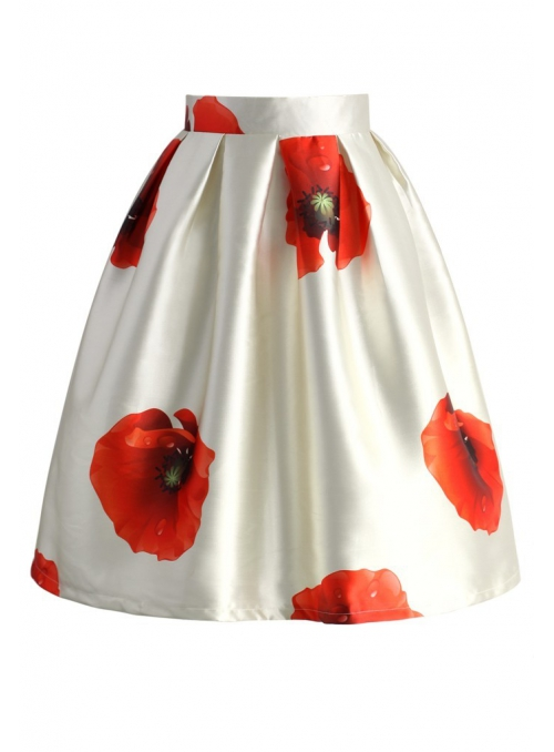 Balloon skirt with poppy flowers