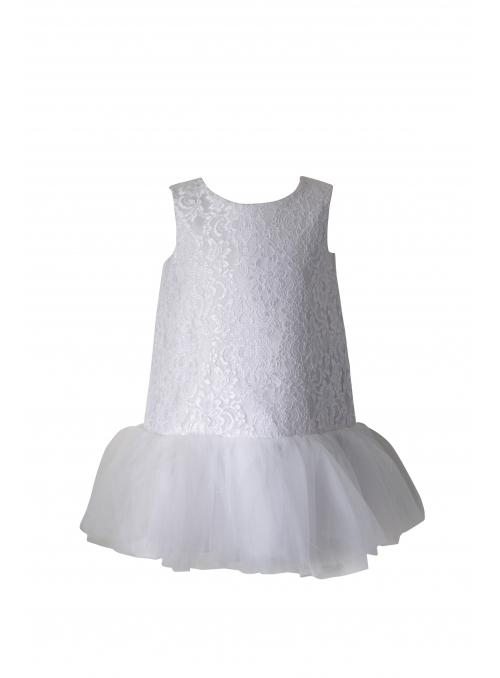 Exkluzívne Balancé šaty s čipkou a jemným šifónom, biele