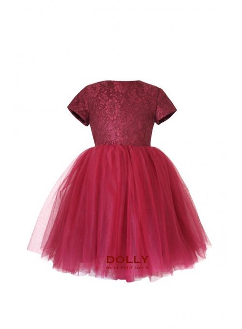 Exkluzivní Minuet krajkové šaty s krátkým rukávem , Burgundy červená
