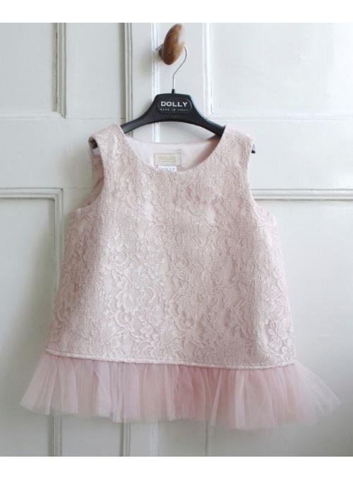 Exkluzivní Petite krajkový top s šifonovými volány , pudrově růžový
