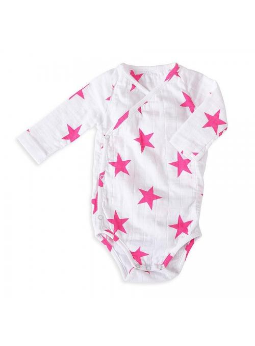 Kombinéza – detské body s dlhým rukávom – Ružové hviezdičky Aden&Anais