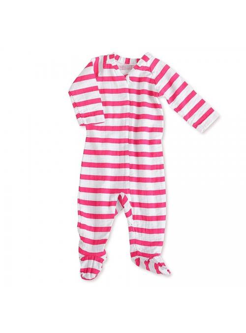 Dupačky s dlhým rukávom na zips – Ružové pásiky Aden&Anais