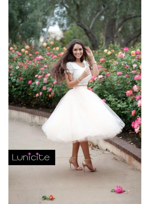 Lunicite broskvová TULIPÁN - exkluzivní tylová sukně broskvová